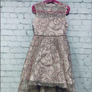 Rare Additions girls fancy hi lo illusion dress